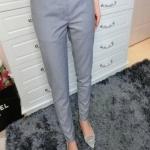 กางเกงเอวสูงสาบเอวงานสีพื้นใส่ได้ตลอดเว!! สีเทา(Grey)