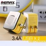 หัวชาร์จ Remax USB Charger (2ช่อง 3.4 A) - สีดำ