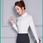 เสื้อเชิ้ตคอจีนระบาย แต่งพลีสอก สีขาว