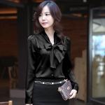 เสื้อหางกระรอกผูกโบว์ สีดำ