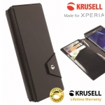 เคสฝาพับหนังแท้ Xperia Z3 ของ Krusell Kalmar FlipWallet Case - สีดำ