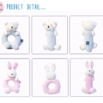 ชุดเซ็ทกรุ้งกริ้งเขย่ามือ - 100 % organic cotton baby stuff teddy bear rattle pink & blue
