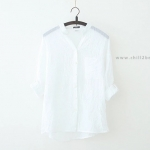 เสื้อเชิ้ตผ้าฝ้ายลินินรุ่น 2 สีขาว(White)