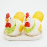 ขวดเกลือพริกไทยเซรามิค ไก่คู่ สีเหลือง