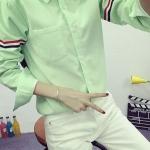 เสื้อเชิ้ต แขนแต่งคาดแถบ 3 สี สีเขียว(Green)
