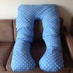 หมอนรองท้อง ผ้าคอตตอนลายจุดสีฟ้า (Polka Dot)