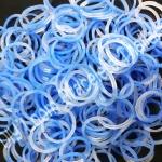 ยางถัก 100% ซิลิโคน Loom Band รุ่นกากเพชร/Glitter Blue 600 เส้น (GLB)