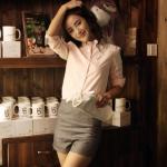 เสื้อเชิ้ตคอจีน2 แต่งระบายฟรุ๊งฟริ๊ง สีชมพู(Pink)