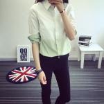 เสื้อเชิ้ตคอตตอนทูโทน สีเขียว