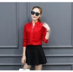 เสื้อเชิ้ตคอจีนพองแต่งกระดุมไข่มุก 3 เม็ด สีแดง