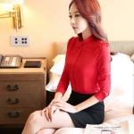 เสื้อเชิ้ตสีพื้นทรงคอจีนพับ แขนพอง สีแดง(Red)