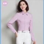 เสื้อเชิ้ตเรียบหรู ทรงสลิมตีเกล็ดเข้ารูป สีม่วงอมชมพู