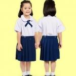 กระโปรงนักเรียนอนุบาลตราสมอ สีกรมอ่อน ยางยืดหลัง