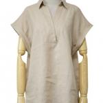 เสื้อเชิ้ตแขนสั้นพับ หน้าสั้นหลังยาว สีน้ำตาล(Brown)