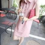 เดรสผ้าฝ้ายตัวยาว กระดุมผ่าหน้า ด้านข้างแหวกเล็กๆ สีชมพู(Pink)