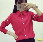 เสื้อเชิ้ต แขนแต่งคาดแถบ 3 สี สีแดง(Red)