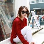 เสื้อเชิ้ตปกเล็ก ผ้าอีดกลีบริ้ว หน้าสั้นหลังยาว สีแดง(Red)