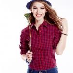 เสื้อเชิ้ตลายสก๊อตเล็กรุ่น 2 สีแดงน้ำเงิน(Red-Blue)