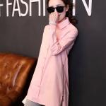 เสื้อเชิ้ตยาว แต่งซิปด้านข้างชายเสื้อ สีชมพู(Pink)