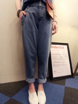 กางเกงยีนส์เอวสูง สม็อคหลัง สีเข้ม