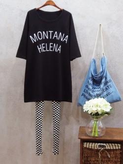 """เสื้อยืดตัวใหญ่พิมพ์ text """"MONTANA HELENA"""" สีดำ(Black)"""