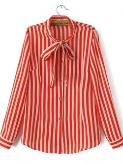 เสื้อเชิ้ตชีฟองลายทาง ปกยาวผูกโบ สีแดง(Red)