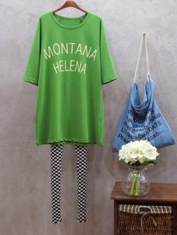 """เสื้อยืดตัวใหญ่พิมพ์ text """"MONTANA HELENA"""" สีเขียว(Green)"""