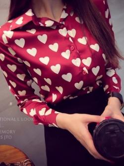 เสื้อเชิ้ต วิ๊งๆ ผ้าหางกระรอก สีแดงองุ่น(Red)