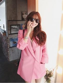 เสื้อสูทกระดุมสองแถว สีชมพู(Pink)
