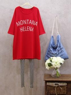 """เสื้อยืดตัวใหญ่พิมพ์ text """"MONTANA HELENA"""" สีแดง(Red)"""