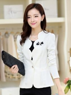 เสื้อสูทหวานขอบเชิ้ตหยักบัว สีขาว(White)