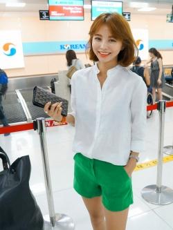 เสื้อเชิ้ตผ้าฝ้าย คอจีน imvely made สีขาว(White)