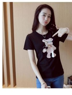 เสื้อยืดสั้น ปักหมีน่ารัก สีดำ