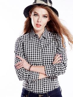 เสื้อเชิ้ตลายสก๊อตเล็กรุ่น 2 สีดำขาว(Black-White)