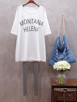 """เสื้อยืดตัวใหญ่พิมพ์ text """"MONTANA HELENA"""" สีขาว(White)"""
