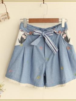 กางเกงยีนส์ทรงกระโปรงน่ารัก มีซับใน ชายแต่งระบายน่ารัก