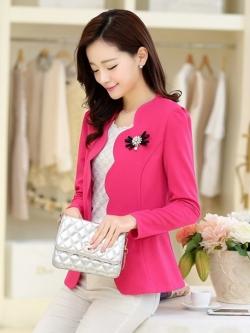 เสื้อสูทหวานขอบเชิ้ตหยักบัว สีชมพู(Pink)