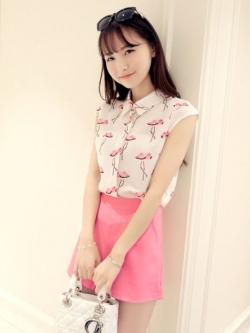 เสื้อเชิ้ตแขนกุดพิมพ์ลายฟามิงโก้+กางเกงฮานาโกะซิปหลัง