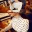 เสื้อคอจีนระบาย ลายดอท สีขาว thumbnail 2