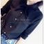 เสื้อเชิ้ตชีฟอง งานสีพื้น ปกเก๋สอดเป็นโบ แมทกับอะไรก็สวยฟรุ๊งฟริ๊ง สีดำ(Black) thumbnail 1