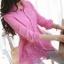 เสื้อเชิ้ตลูกไม้จั้มเอวชายระบายพองลูกไม้ สีชมพู(Pink) thumbnail 2