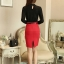 เสื้อเชิ้ตลูกไม้ทั้งตัว แต่งผ้าริ้วคาดหน้า คอจีนแต่งระบายประดับไข่มุก สีดำ(Black) thumbnail 3