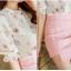เสื้อเชิ้ตคอจีน ผ้าฉลุทั้งตัว พิมพ์ลายซากุระ แขนยาว 4 ส่วนจั้มระบาย ลายดอกชมพู thumbnail 5
