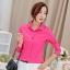 เสื้อเชิ้ตสีพื้นตัวโปรด ปกประดับพลอยเป็นรูปดอกไม้ สีเขียวเข้ม(Green) thumbnail 3