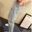 กางเกงยีนส์เอวสูง สม็อคหลัง สีอ่อน thumbnail 2
