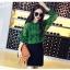 เสื้อเชิ้ตลูกไม้ผสมซีทรู สีเขียว thumbnail 3