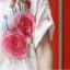 เสื้อเชิ้ตพับแขน พิมพ์ลายกุหลาบ สีชมพู(Pink) thumbnail 4