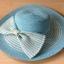 หมวกปีกกว้าง สีฟ้าลายขาว ประดับด้วยโบว์ thumbnail 1