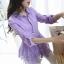 เสื้อเชิ้ตลูกไม้จั้มเอวชายระบายพองลูกไม้ สีม่วง(Purple) thumbnail 1