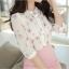 เสื้อเชิ้ตคอจีน ผ้าฉลุทั้งตัว พิมพ์ลายซากุระ แขนยาว 4 ส่วน thumbnail 5